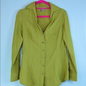 W By WORTH lime green button shirt top. 8
